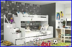Modern Bunk Bed With Mattresses / Storage / Childrens Kids Bedroom Max 5 Colours