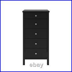 Madrid Black Painted 5 Drawer Narrow Chest / Slim Tallboy Storage
