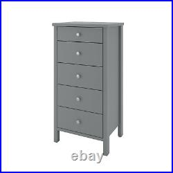 Madrid Grey Painted 5 Drawer Narrow Chest / Slim Tallboy Storage