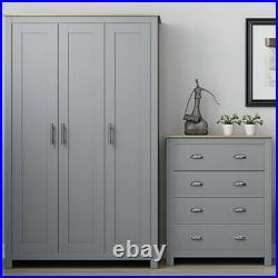 Matt Grey & Light Oak Large Storage 3 Door Wardrobe Traditional Shaker Style