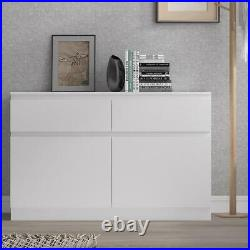 Matt White Sideboard Storage Unit Modern Scandinavian No Handles 2 Door 2 Drawer