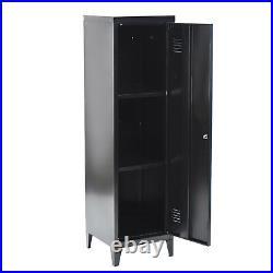 Metal Locker 137.5CM H Lockable Storage Cabinet 3 Tier Adjustable Organizer