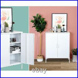 Metal Locker Modern Organizer Kids Toys Storage Cabinet with Door Shelves White