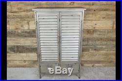 Metal Silver Painted Storage Cabinet Industrial Shutter 2 Door 2 Drawer Unit New