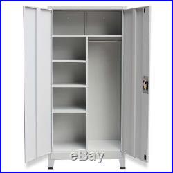 Metal Storage Office Cabinet 2 Door Cupboard Wardrobe Shelves Locker Steel Grey