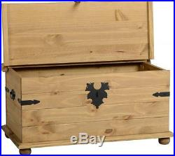 Mexican Pine Corona Single Trunk Ottoman Storage Chest Free Next Day Delivery