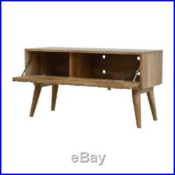 Mid Century Style Hand Carved Storage Bench Media TV Unit