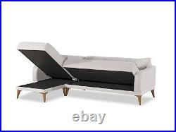 Minimal Corner Sofa Bed right handed Beige Fabric with two pillows