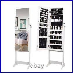 Mirror Jewellery Cabinet Floor Standing Storage Box Organiser White UK