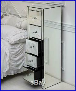 Mirrored 5 Drawes Bedside Tables Cabinet Unit Storage Glass Crystal Handles