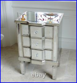 Mirrored Bedside Table 3 Drawers Chest Silver Venetian Storage Cabinet Side Unit
