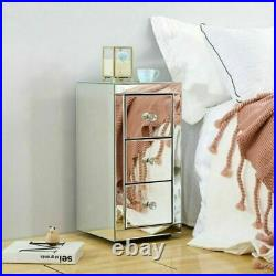 Mirrored Glass Bedside Table Nightstand Storage Cabinet Chest of 2/3 Drawers UK