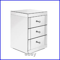 Mirrored Glass Bedside Table Storage Cabinet Unit Nightstand Chest of 3 Drawers