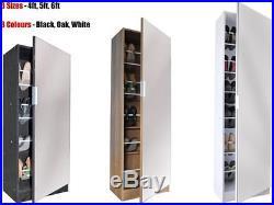 Mirrored Shoe Cabinet Storage Rack Full Mirror 4ft 5ft 6ft Black White Oak