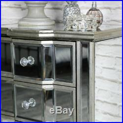 Mirrored Tall Boy Silver Glass Cabinet 6 Drawer Storage Chest Bedroom Unit New