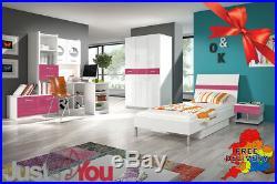 Modern Bedroom Kids Child Youth Set Boy Girl Bed Storage Wardrobe Desk Mattress