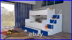 Modern Bedroom Kids Youth Double Triple Bunk Bed Storage Mattresses Boy Girl