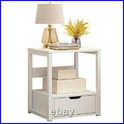Modern Bedside Table Drawers Cabinet Nightstand Storage Bedroom Furniture White