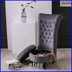 Modern Chair with Storage High Back Single Couch Soft Seat Velvet Upholstered