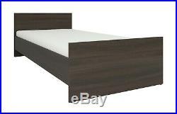 Modern Dark Wenge Effect 4 Piece Single/Child Bedroom Set Storage Bed Frame Nepo