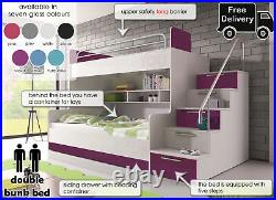 Modern Double Bunk Bed Set Storage Kids Child Youth Boy Girl Bedroom Drawer