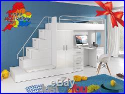 Modern Double Bunk Bed Set With Mattress Storage Childrens Kids Bedroom Eden