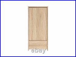 Modern Double Wardrobe 2 Door with Drawers Storage Sonoma Oak Kaspian Bedroom
