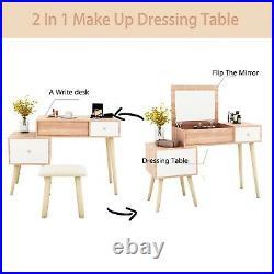 Modern Dressing Table Jewelry Makeup Desk Mirror&Drawer Home Storage Bedroom UK