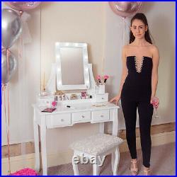 Modern Dressing Table Mirror LED Lights Stool Set Jewellery Storage Organiser