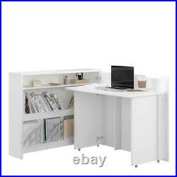 Modern Home Office Work Desk CONCEPT Convertible Hidden With Storage in Grey