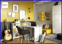 Modern Home Office Work Desk CONCEPT Convertible Hidden With Storage in Oak