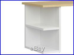 Modern Large Study Home Office Storage Desk 160 cm White Gloss Oak Finish Denton