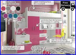 Modern Loft Bed Boy Girl Double Bunk Bed Set Storage Kids Youth Childrens Eden