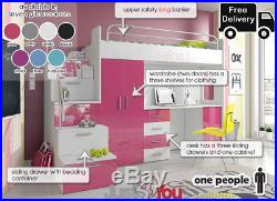 Modern Loft Bed Boy Girl Double Bunk Bed Set Storage Kids Youth Mdf Board Eden