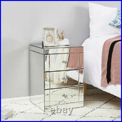 Modern Mirrored Crystal Glass Bedside Table Storage Cabinet Chest of Drawers UK