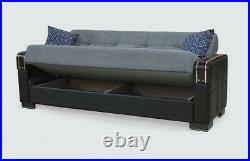 Modern Ottoman Storage Sofa Bed Fabric and PU Leather Sofabed with 4 Cushions