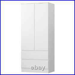 Modern Scandinavian Style Storage 2 Door 2 Drawer Combination Wardrobe White