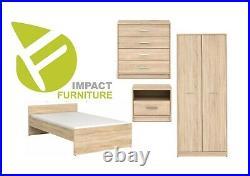 Modern Sonoma Oak Effect 4 Piece Child Bedroom Set Storage & Bed Frame Nepo