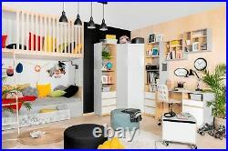 Modern Tall Bookcase Storage Drawers Kids Bedroom White Gloss Light Grey Nandu