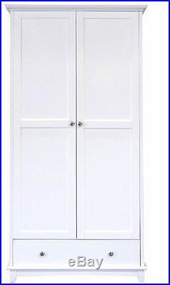 Modern White 2 Door Wardrobe Children Bedroom Storage Unit Dresser Cupboard New