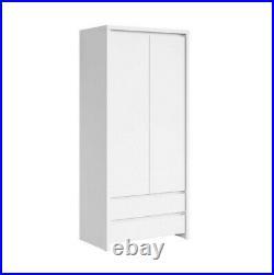 Modern White Double Wardrobe 2 Door with Drawers Rail Bedroom Storage Kaspian