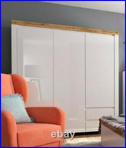 Modern White Gloss Oak 3 Door Triple Wardrobe Cabinet Storage, Soft Close Holten