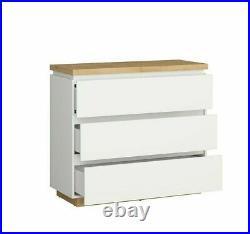 Modern White Gloss Oak Effect Finish Chest of 3 Drawers Soft Close Storage Erla