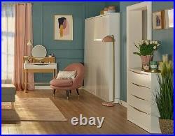 Modern White Gloss Oak Effect Insert 2 Door Double Wardrobe Bedroom Storage Pori