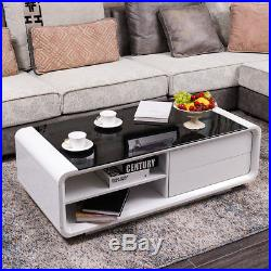 Modern White High Gloss Coffee Table With Black Tempered