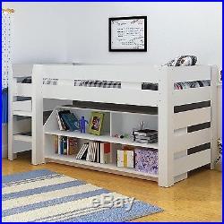 Modern White Seconique Lollipop Bunk Bed, Kids Mid Sleeper + Storage
