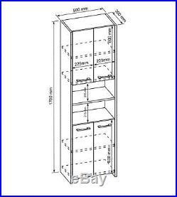 Modern White Tall Bathroom storage 4 Doors Cabinet Cupboard