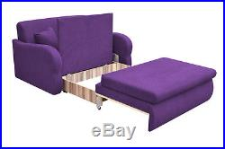 NEW 2 Seater Sofa Bed with Storage PURPLE Fabric