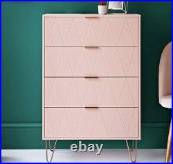 NEW 4 Drawer Chest with Gold Metal Legs, Bedroom Storage Unit Blush