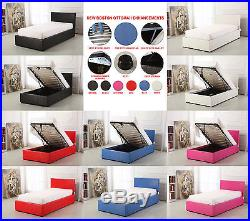 NEW Boston 3ft Single Deep Ottoman Leather Storage Gas Lift Up Bed Plus Mattress